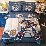 Cenarious Transformers Optimus Prime Blue Boys Cartoon Style Duvet Cover Set Cotton Flat Sheet Bed Cover - 3Pcs Bedding Set - Twin Flat Sheet Set - 61'x80' - 155x205cm