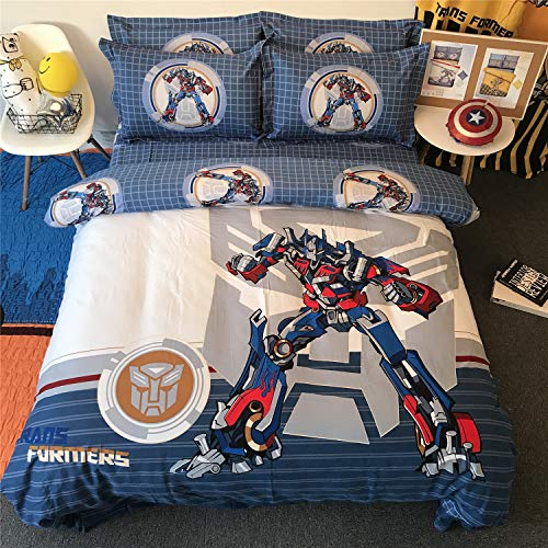 Cenarious Transformers Optimus Prime Blue Boys Cartoon Style Duvet Cover Set Cotton Flat Sheet Bed Cover - 3Pcs Bedding Set - Twin Flat Sheet Set - 61'x80' - 155x205cm