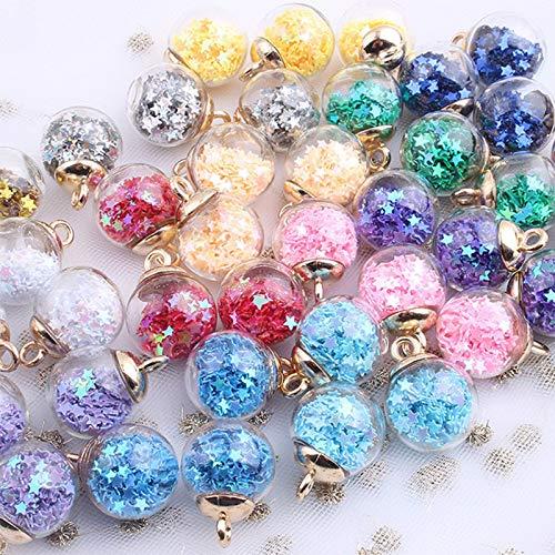 RUIYELE 32 bolas de cristal de 16 mm, colgantes de colores, suministros de fabricación de joyas con estrella brillante, bola de cristal para bricolaje, collar, pulsera y manualidades