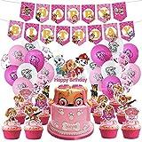 46pcs niños pata perro patrulla decoración cumpleaños conjunto tirar bandera globo pastel fila fiesta suministros (PT-SC-027, 46Pcs)