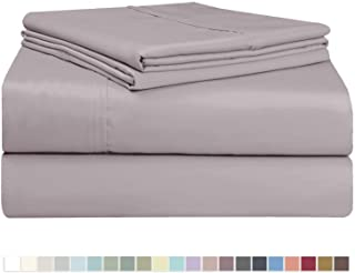 Pizuna 400 Thread Count Cotton King Size Sheet Set Lilac Grey, 100% Long Staple Cotton Soft Sateen Bed Sheets with Stylish 4 inch Hem, fit Upto 15 inch Deep Pocket (100% Cotton Lilac Grey Sheet King)