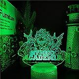 Lámpara de ilusión 3D, luz nocturna 3D, anime Midoriya Izuku, lámpara 3D, My Hero Academia, luz nocturna LED para niños, decoración de cumpleaños, regalo de Navidad, 7 colores