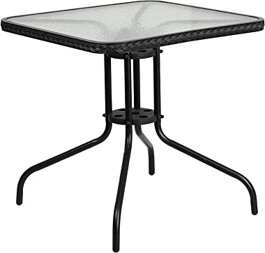 MINGQIANG Furniture 28'' Square Tempered Glass Metal Table with Black Rattan Edging