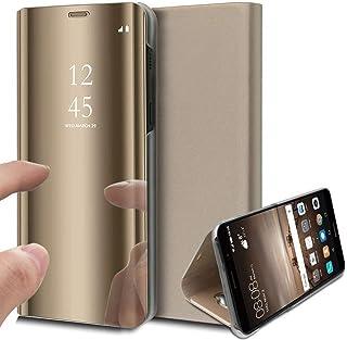 Oihxse Spiegel beschermhoes compatibel met Huawei Honor 20 / Honor 20 Pro / Nova 5T Ultra Slim Mirror Flip Transparant kij...