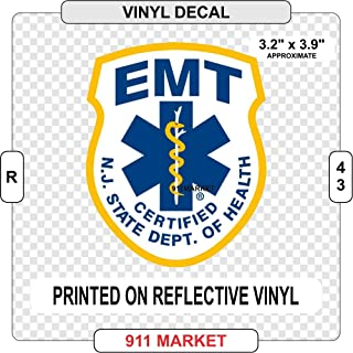 New Jersey NJ EMT Reflective Decal Emergency Medical Technician Sticker - R 43