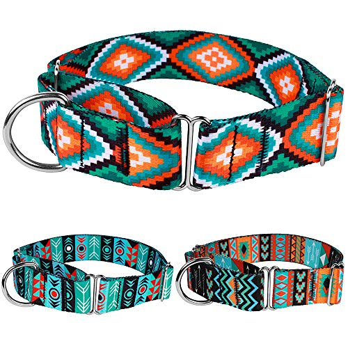 CollarDirect Martingale Dog Collar Nylon Safety Training Tribal Pattern Adjustable Heavy Duty Collars for Dogs Medium Large (Pattern 3, Large, Neck Size 15-20)