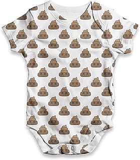 TWISTED ENVY Poop Emoji Baby Unisex Printed All-Over Print Bodysuit Baby Grow Baby Romper