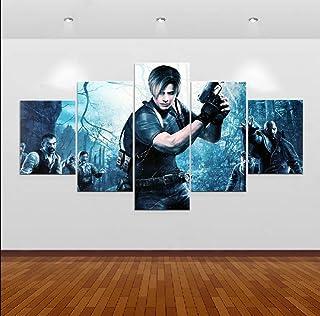CANPIC Imagen Modular Decoración para el hogar Pintura en Lienzo de la Pared Juego de 5 Paneles Resident Evil 4 Role Figure For Living Room Oil Poster, 20X35 20X45 20X55 cm