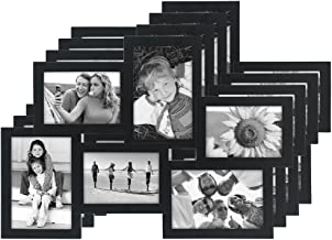 Malden International Designs Crossroads Puzzle Collage Picture Frame, 6 Option, 3-3.5x5 & 3-4x6,Pack of 4, Black