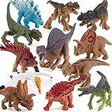 12 PCS Realistic Dinosaur Model Figures Carnotaurus Velociraptor Triceratops Tyrannosaurus Pterodactyl Cake Topper Desktop Decoration Toys for Toddlers Boys Girls 5 6 7 8 Years Old