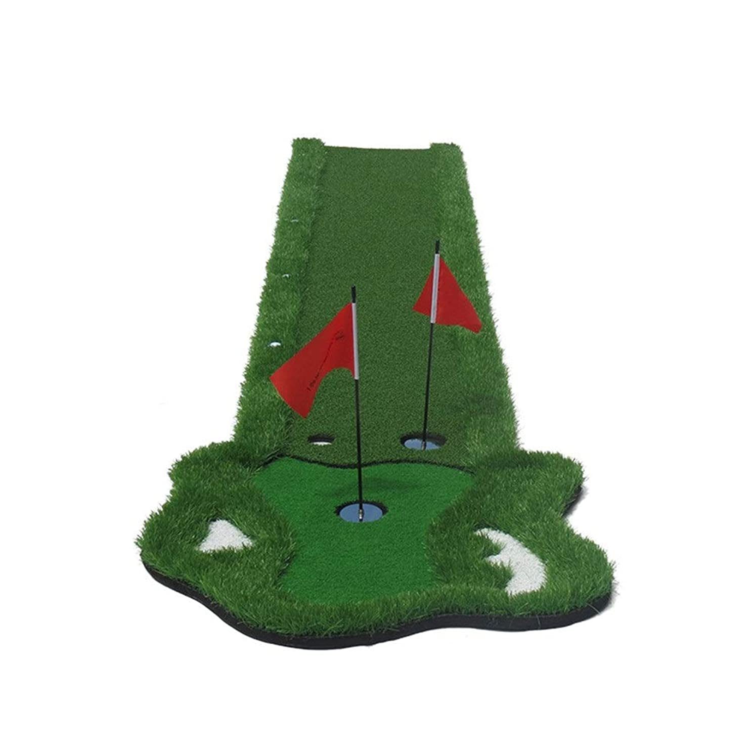 突撃マラウイ船上屋内ゴルフグリーンマット 環境ゴルフ人工グリーンゴルフパターカッティングロッドエクササイザーポータブルゴルフパッティングマット用ガーデン裏庭屋内と屋外スポーツで2旗6ボール ゴルフパターパッド (色 : 緑, サイズ : 0.5*3.5M)