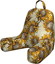 Lunarable Floral Reading Cushion with Back Pocket, Dark Toned Sunflowers with Sketch Effects Harvest Time Theme Paint Pict...