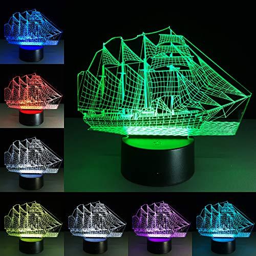 Segelboot Schiff Effekt Schule Abschluss 3D LED Nachtlicht Tischlampe Nachttisch Dekoration Kinder Geschenk