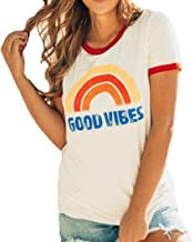 Zantt Women Long Sleeve Plus Size Good Vibes T-Shirt Loose T-Shirt Top Blouse
