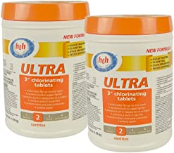 HTH 41244 3-Inch Ultra Chlorinating Tablets for Swimming Pools, 3.5-Pound Container (2-Pack)