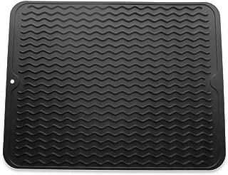 Silicone Dish Drying Mat, Eco Friendly Drying Mat, Heat Resistant Kitchen Dish Draining Mat (Large 16'' x 12'', Black)