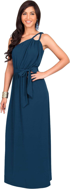 KOH KOH Womens Long Sleeveless One Shoulder Evening Summer Bridesmaid Maxi Dress