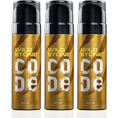 Wild Stone Code Gold Body Perfume for Men with Strong Masculine Aroma for Special Occasion, Pack of 3 (120ml each)