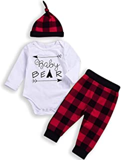 Newborn Infant Baby Boy Girl Christmas Outfits Baby Bear Romper+Plaid Pants Winter Clothes