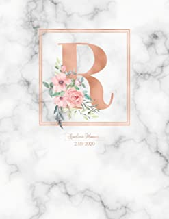 Academic Planner 2019-2020: Rose Gold Monogram Letter R with Pink Flowers over Marble Academic Planner July 2019 - June 2020 for Students, Moms and Teachers (School and College)