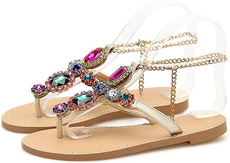 HuangKang Gladiator Metal Decoration Fashion Rhinestone Buckle Strap Woman Crystal Beach Bohemia Summer Flats Sandals