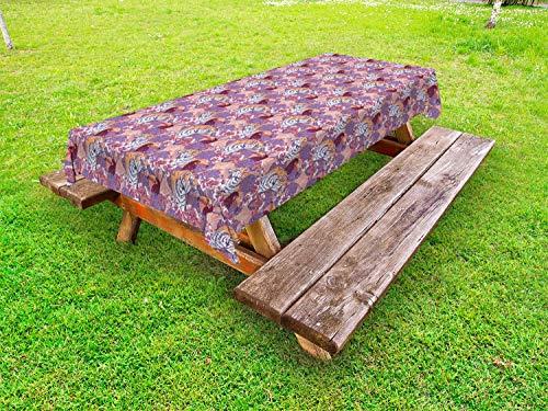 ABAKUHAUS Tierwelt Outdoor-Tischdecke, Tukane Tigers und Blätter, dekorative waschbare Picknick-Tischdecke, 145 x 210 cm, Coral Ceil Blau