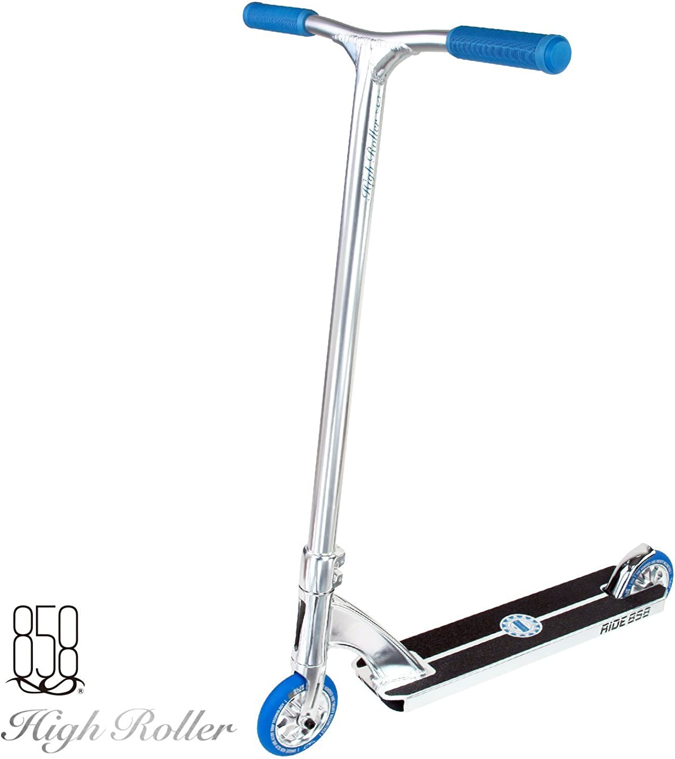 2016 High Roller Scooter With Forged Neck Tube To Avoid Breaks + Light Strong Deck With Patent Reinforced Aluminium Bar For The Ultimate Performance By Ride 858 (CHROME blueE)