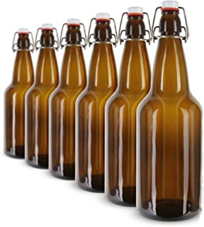 Swing Top Glass Bottles from Henry's Healthy Harvest - Homebrewing, Kombucha, Beer Bottles, Antique Bottle Look-A-Likes and Restaurant Bottles - Tight and Secure Installed Caps - 6 Pack