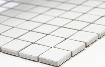 Rete Mosaico Mosaico Piastrelle Quadrati Uni Bianco Opaco Ceramica Mosaico Per Piastrelle Da Parete Specchio Piatto Doccia Amazon It Fai Da Te