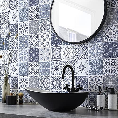 Pegatinas de pared de cocina – Azulejos de cemento adhesivo para pared – Pegatinas de azulejos – Pegatinas de azulejos adhesivos de pared para cuarto de baño 15 x 15 cm – 24 piezas de cemento adhesivo
