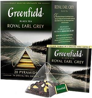 GREENFIELD ROYAL EARL GREY| Schwarztee | Aromatisierter Schwarzer Tee Mit Bergamotte | loser tee in dose | tee im 20 pyramidenbeutel | Flavoured Black Tea 20 x 2g, 40g
