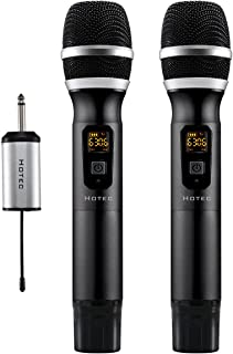 """Hotec 25 Channel UHF Wireless Microphone Dual Microphone with Mini Portable Receiver 1/4"""" Output, For Church/Home/Karaoke/Business Meeting (Dual mic)"""