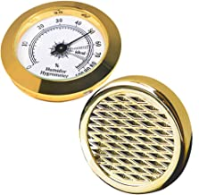 Cigar Hygrometer - Cigar Humidifier - Precision Round Adjustable Point Hygrometer - for Tobacco Moisturizing and Increased Humidity - Suitable for Cigar Box/Cigar Cabinet-Gold