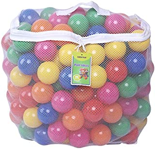 Click N' Play Pack of 200 Phthalate Free BPA Free Crush Proof Plastic Ball, Pit Balls - 6 Bright Colors in Reusable and Durable Storage Mesh Bag with Zipper