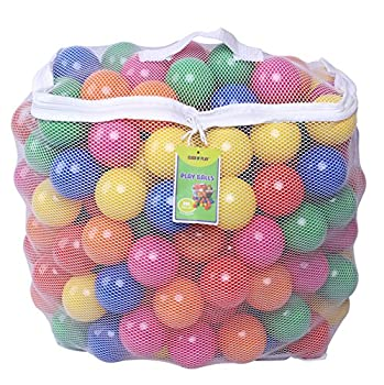 Click N  Play Pack of 200 Phthalate Free BPA Free Crush Proof Plastic Ball Pit Balls - 6 Bright Colors in Reusable and Durable Storage Mesh Bag with Zipper