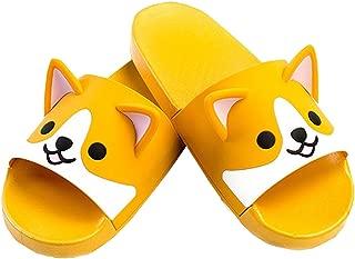 FUYU Women's Cute Cartoon Animal Ears Corgi Non-Slip Shower Sandals Bathroom Soft Slipper Husky Couples Shoes