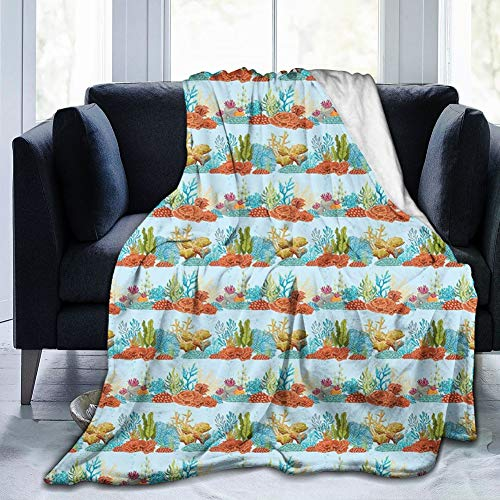Papalikz Ultra-Soft Micro Fleece Soft and Warm Throw Blanket,Aquarium Coral Reefs and Algaes Underwater Life Design Colorful Aquatic Plant Arrangement,80\