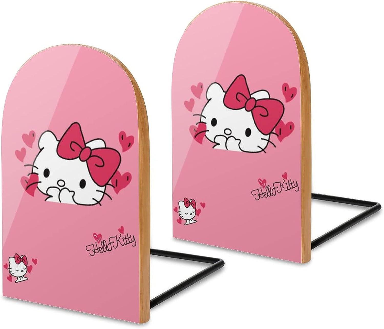 KRISMARIO Hello Kitty Kiss 2pcs Heavy Wood Logs Bookends Modern