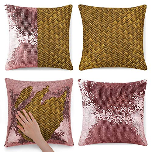 Tamengi Sequin Pillow Cover, Rustic Faux Bamboo Basket Weave Pattern Texture, Zipper Pillowslip Pillowcase, Decorations for Sofas, Armchairs, Beds, Floors, Cars
