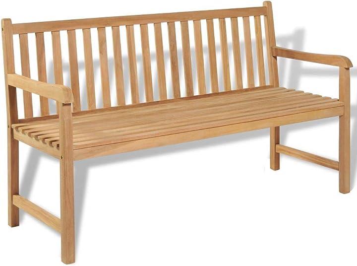Panca da esterni in legno di teak, panchina giardino 150x62,5x90 cm tidyard NVW0993047374089MS