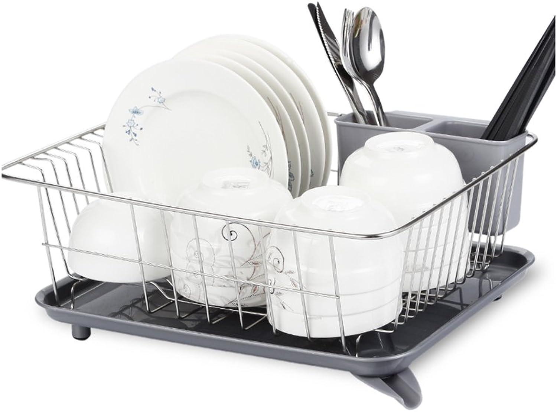 LXLA- 304 Stainless Steel Drain Dish Rack Kitchen Storage Shelf Household Holder Chopsticks Basket 40×30×17cm (color   Stainless Steel color)