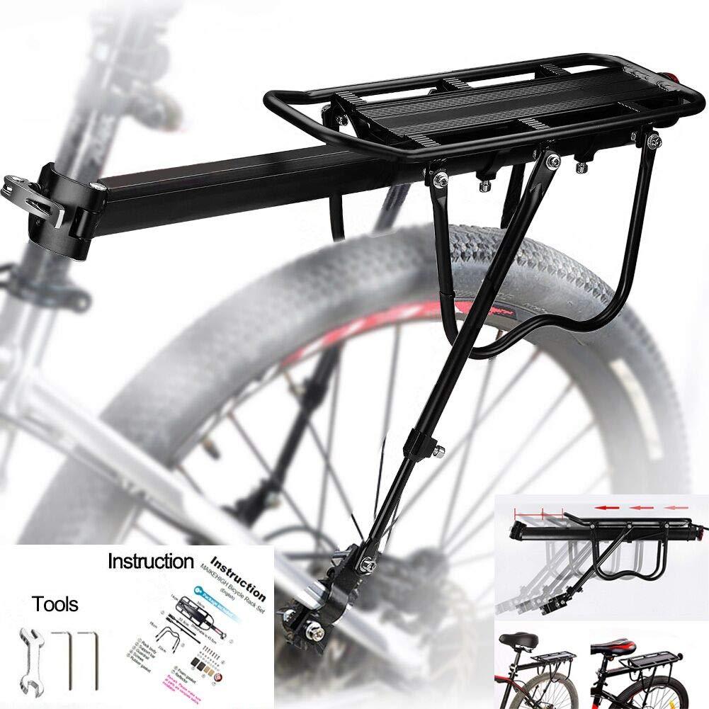 MAIKEHIGH Ajustable Carrier Trasera para Bicicleta portaequipajes Bicicleta Accesorios Soporte de Equipo Footstock Bicicleta Portador Estante con Reflector: Amazon.es: Deportes y aire libre