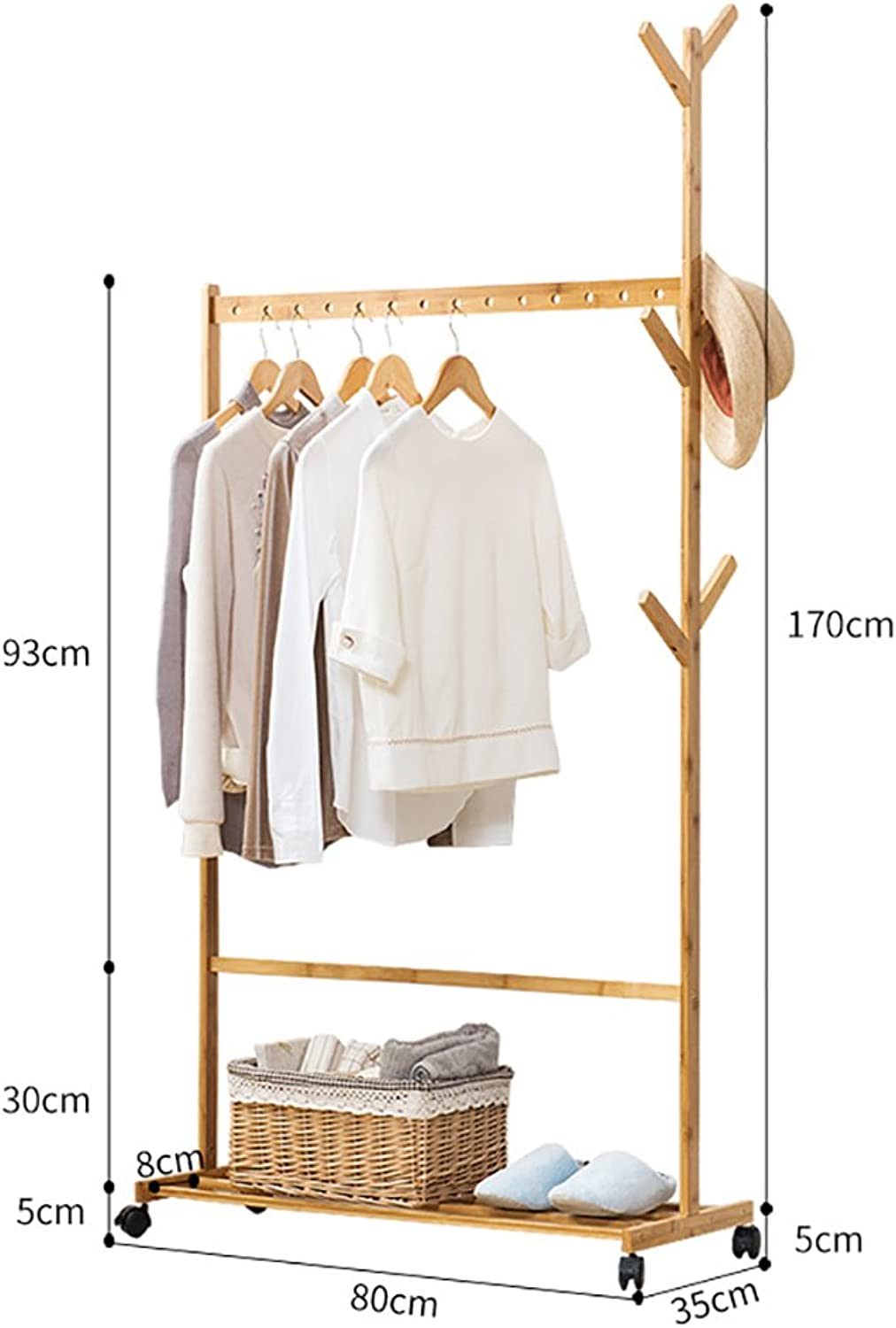 Clothes Stand Bamboo for Bedroom Drying Wood with shoes Rack Coat Racks (Size   80cm)