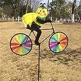 Angelliu Moulin à Vent Jouet Animal 3D Mignon en Vélo Moulin à Vent Enfant pour Décoration De Jardin, Cadeau, Décoration De Camping
