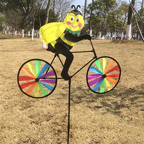 Dairyshop 3D Animal on Bike Windmill Wind Spinner Whirligig Lawn Yard Garden Home Decor (Bee)