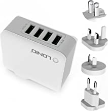 ORIA 4 USB Wall Charger, 22W Universal Wall Charger, 4.4A Travel Charger Adapter with UK,AU,EU Plugs for iPhone, 8 Plus, Smartphones, Mini 4, Samsung Galaxy S8, Tablet