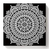 Greeeen DIY Painting by Numbers for Kids & Adults Mandala White Flower Minimalist Pattern DIY Oil Painting Kit on Canvas Arts Craft for Home Wall Decor, 16' x 16'