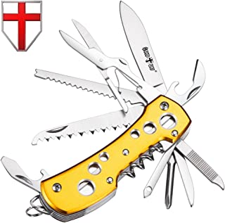 Multi Function Knife 11-in-1 with Corkscrew and Scissors - Utility Tool, Good for Camping, Hunting, Survival, Hiking and Outdoor Activities - Grand Way 100015