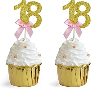 HOKPA 18th Birthday Cupcake Toppers, Glitter Number 18 Cake Topper with Pink Bow-knot Food Picks for Girls' Birthday Wedding Anniversary Celebrating Party Decoration (24PCS Golden) …