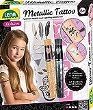 Lena 42441 Fashion Tattoo, Set de moda para modelar y adornar con 10 plantillas y 2 lápices de purpurina, joyas corporales con 16 tatuajes metálicos para niños a partir de 6 años, multicolor
